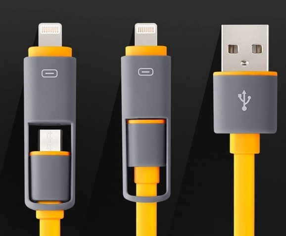 Retractable USB cable for all devices (micro-USB + iPhone)